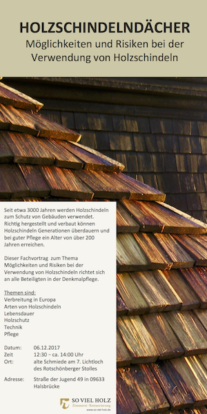 Fachvortrag Holzschindeldächer